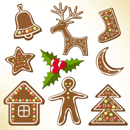 Set gingerbread cookies. Vector illustration.