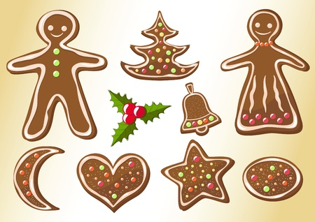 Gingerbread cookies. Christmas cookies. Vector illustration. Vector