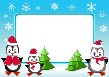 snow cap: Baby penguins. Christmas frame. Vector illustration.