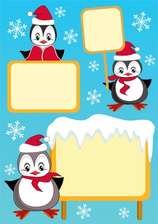 Baby penguin and billboard. Design element. Vector illustration. Vector
