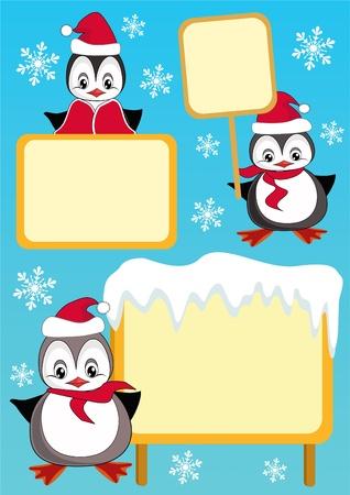 baby on board: Baby penguin and billboard. Design element. Vector illustration. Illustration