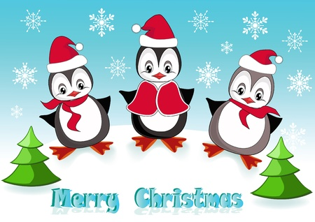 Baby penguins. Christmas postcard. Vector illustration. Vector