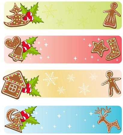 gingerbread man: Christmas banners collections. Vector illustration.