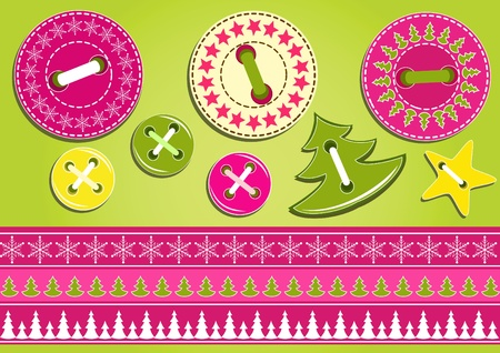 needlework: Christmas collection for scrapbook. Vector illustration. Illustration
