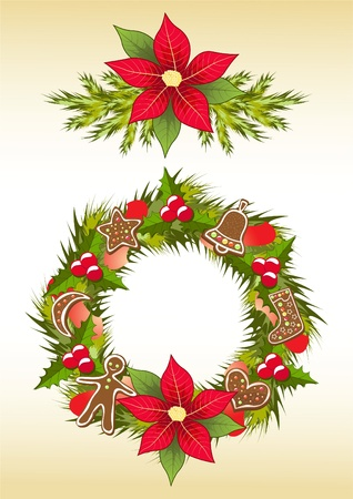 Christmas garland with gingerbread. Vector illustration. Vector