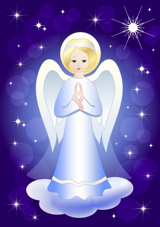 Angel and Christmas star. Vector illustration. EPS10.
