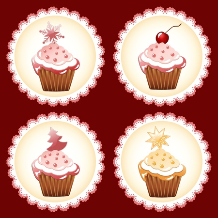 Christmas cupcake on the doily. Vector. Vector