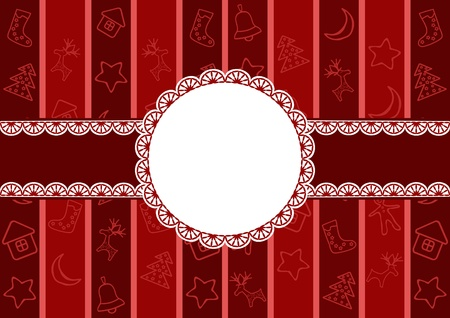 Christmas frame with doily. Vector illustration. Vector