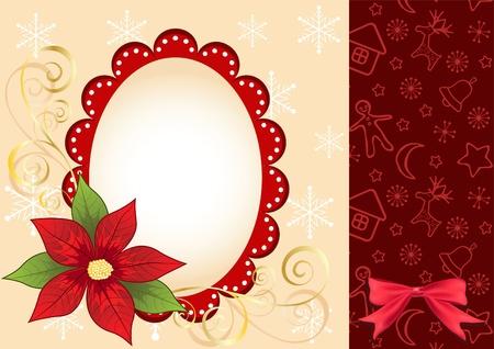 Christmas frame with  poinsettia. Vector illustration. Stock Vector - 11647893