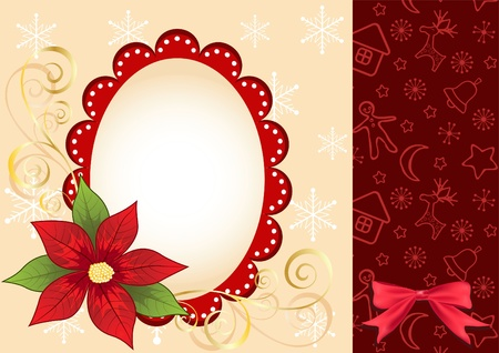 Christmas frame with  poinsettia. Vector illustration. Vector