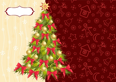 Christmas tree on the red background. Vector. Vector