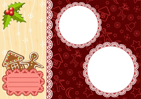 Christmas background with gingerbread and frames. Vector. Vector