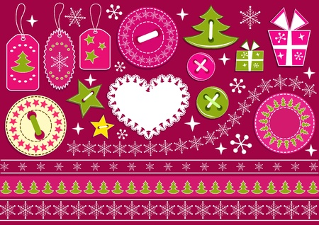 Christmas collection for scrapbook. Vector illustration. Vector