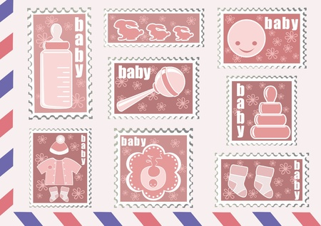 baby rattle: Postage stamp. Baby collection. Vector illustration.