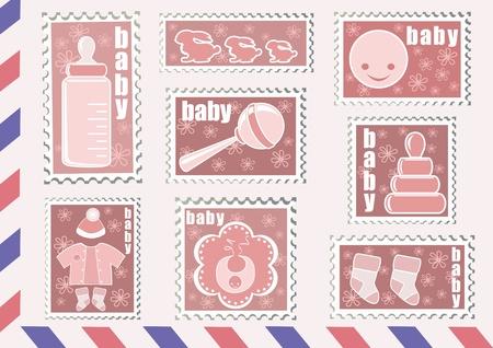 sonaja: Sello de correos. Baby colección. Ilustración del vector. Vectores