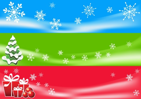 Abstract winter background. Three banners. Vector illustration. Vector