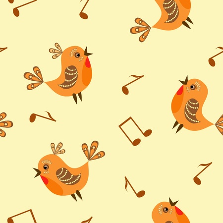 Baby seamless. Birds and note. Vector  illustration. Vector