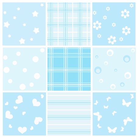 textured backgrounds: Set blue baby seamless. Vector  illustration.