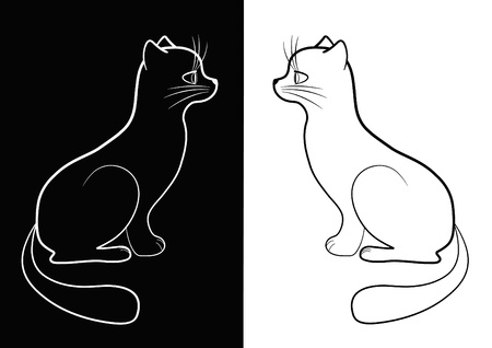 fine lines: Black and white cat. Vector illustration.