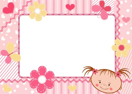 verjaardag frame: Children `s frame. Vector illustratie.