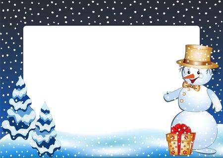christmas photo frame: Funny snowman. Winter photo frame. Vector  illustration.