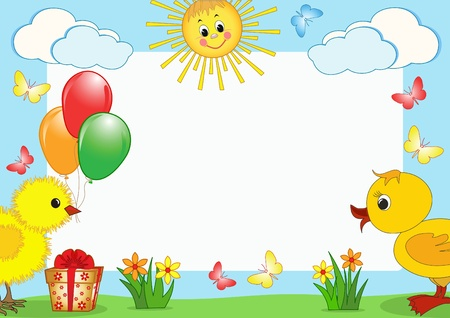 ducklings: Children`s frame. Vector. Illustration