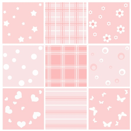 pink backgrounds: Set pink baby seamless. Vector  illustration.