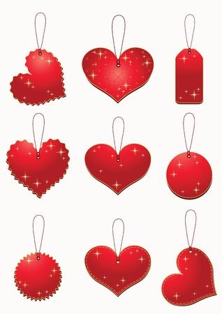Red labels. Set valentine`s tags. Vector illustration. Vector