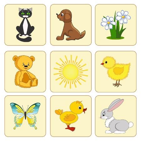 chick: Establecer los elementos del beb�. Cr�as de animales. Ilustraci�n vectorial. Vectores