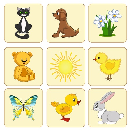 Set baby elements. Baby animals. Vector illustration. Vector