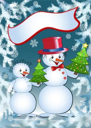carrot tree: Funny snowmans. Vector  illustration. Illustration
