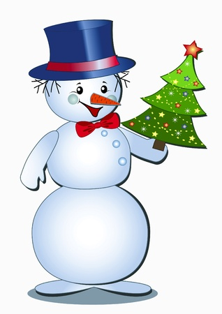 snowman isolated: Funny snowman isolated on the white. Vector  illustration. Illustration