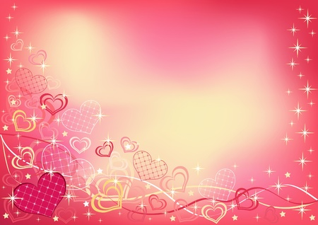 pink ribbons: Abstract valentine`s background. Vector illustration. Illustration