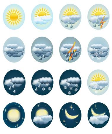 sunny cold days: Set weather icons. Vector illustration. Illustration