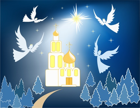 orthodoxy: Winter  background. Christmas star. Vector  illustration. Illustration