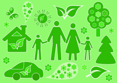 Family and ecology. Vector illustration. Vector