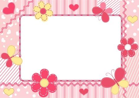 cartoon frame: Children `s photo frame. Illustrazione vettoriale.