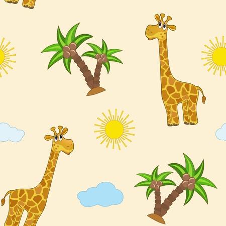 young animal: Giraffe. Baby seamless. Vector  illustration.