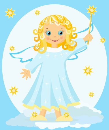children of heaven: Angel with magic wand.  Vector  illustration.