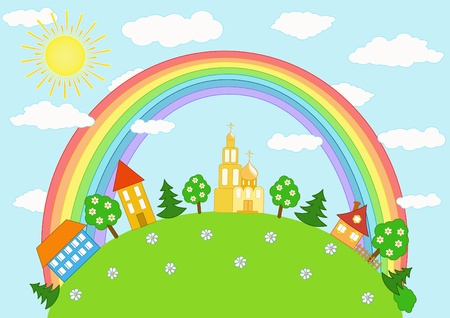 church window: Baby landscape. Rainbow. Vector  illustration.
