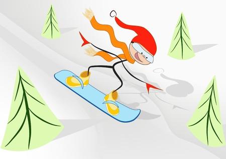 Joy snowboader. Cartoon. Vector illustration. Vector