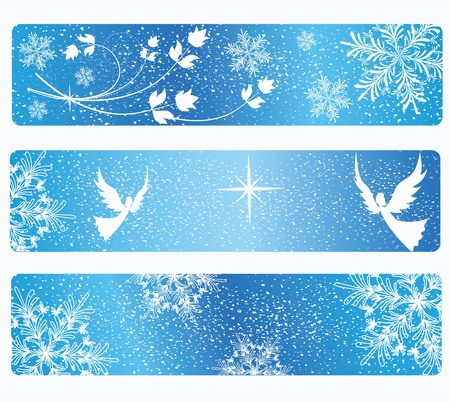 angel illustration: Winter blue background. Vector  illustration.