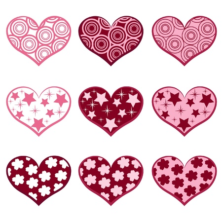 9 hearts. Set valentine`s simbols. Vector illustration. Vector
