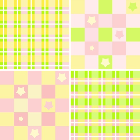 chequered: Set baby seamless. Vector  illustration.
