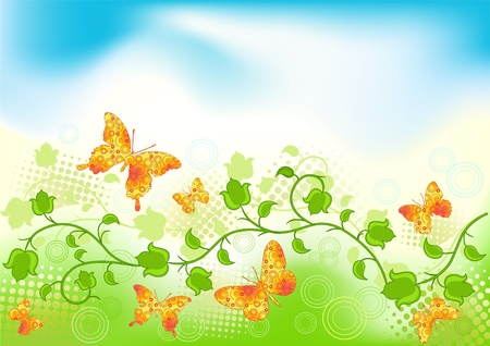 Floral background with butterfly. Vector illustration. Stock Vector - 11647797