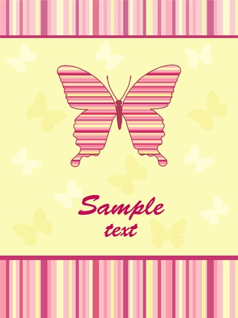 Cheerful babies card.  Butterfly. Vector illustration. Vector