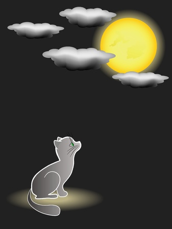 Kitten and full moon. Vector illustration.