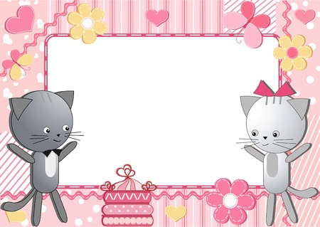 Cats. Children`s frame. Vector. Vector