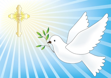 gold cross: Flying dove. Easter vector illustration. Illustration