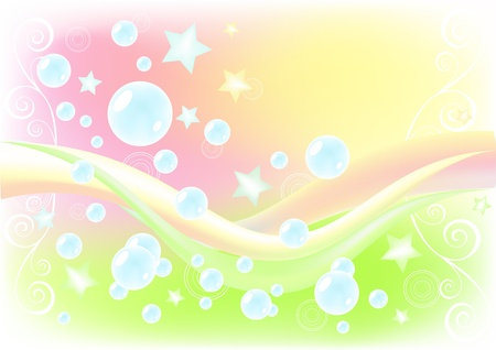 Air background with soap bubbles. Vector illustration. Vector